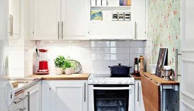 Обои для маленькой узкой кухни в хрущевке салатовые
