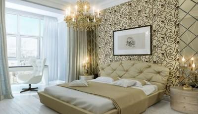 Обои шелкография на стене спальни