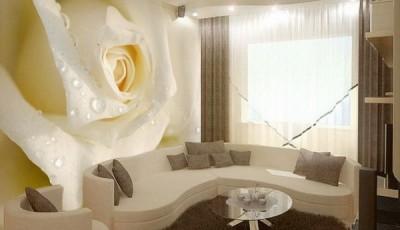 фотообои роза желтая за диваном