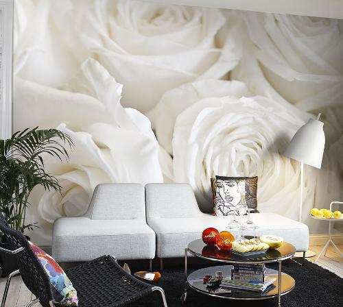 Дизайн с белыми розами