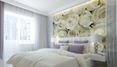 фотообои розы белые на стене спальни