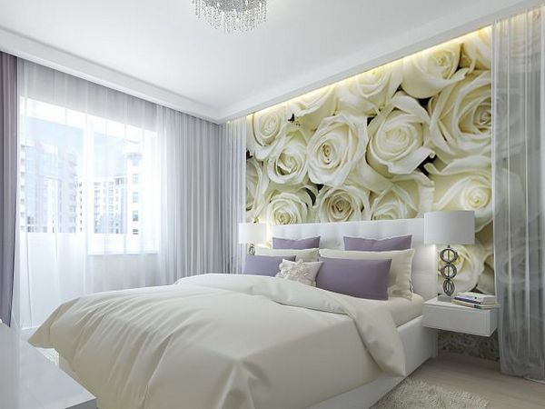 Фотообои для спальни фото цветы