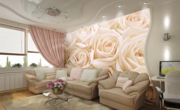 Фотообои розы в интерьере спальни фото