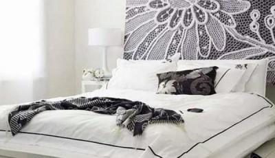 обои из ткани в спальне