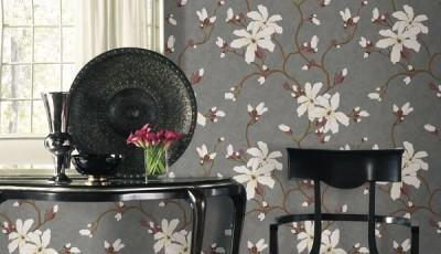 Акриловые обои серые с цветами