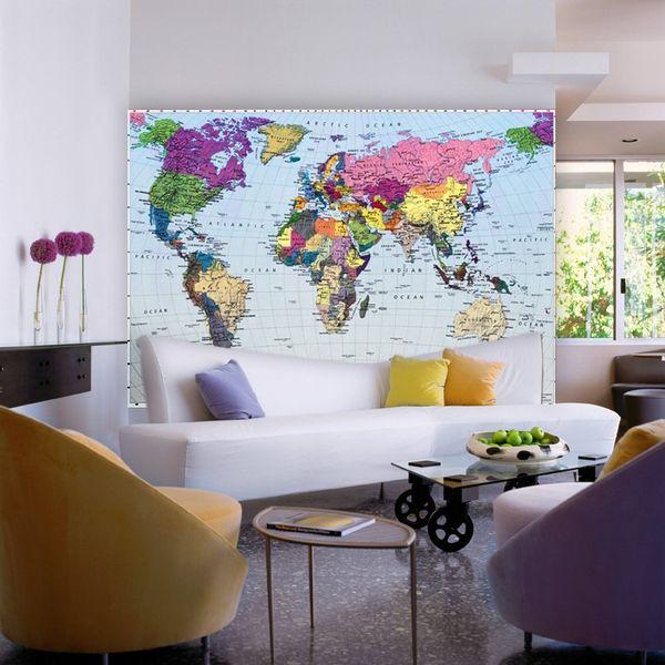 Фотообои в интерьере карта мира фото