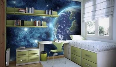 Фотообои разноцветные для подростковой комнаты Земля