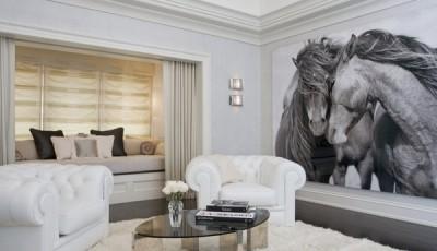 Фотообои с черно белыми лошадьми