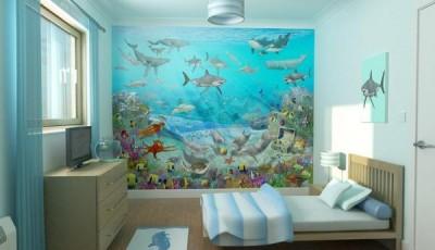 Фотообои с рыбами в комнате