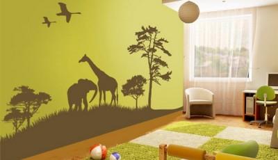 Фотообои с жирафами и слонами