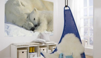 Фотообои с животными для стен белые медведи