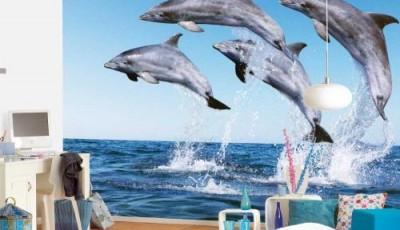 Фотообои с животными для стен дельфины