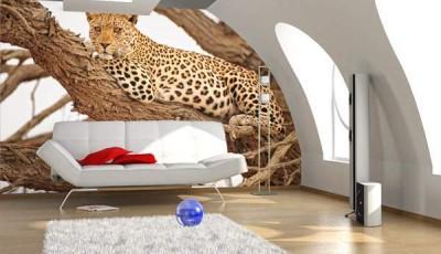 Фотообои с животными для стен леопард на дереве