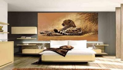 Фотообои с животными для стен леопард в спальне