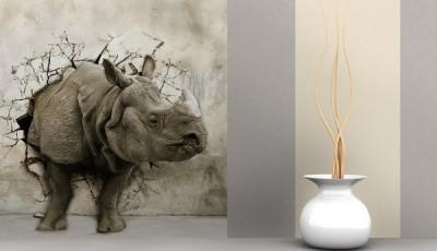 Фотообои с животными для стен носорог