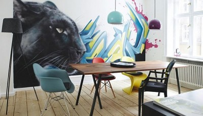 Фотообои с животными для стен пантера рисунок