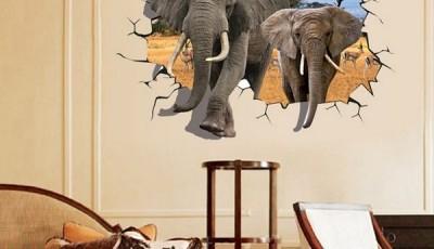 Фотообои с животными для стен слоны наклейки на дверь