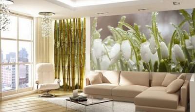 Фотопечать на обоях на стене белые цветы