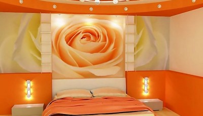 Фотопечать на обоях роза в спальне