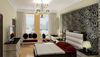 Комбинированные современные обои в спальне