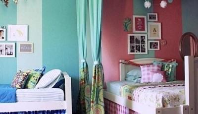 Обои для детской для разнополых детей разделенные шторой