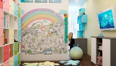 Обои для детской для разнополых детей с радугой