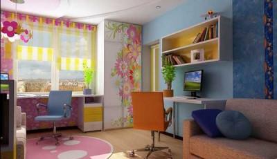 Обои в детскую комнату для разнополых детей к красивой мебелью