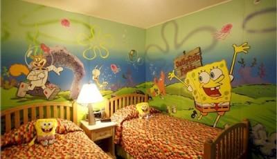 Обои в детскую комнату для разнополых детей с Спанчбобом