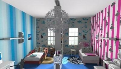 Обои в детскую комнату для разнополых детей с вертикальными полосками