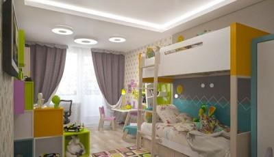 Обои в детскую комнату для разнополых детей в сиреневых тонах