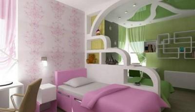 Обои в детскую комнату для разнополых детей зеленые розовые