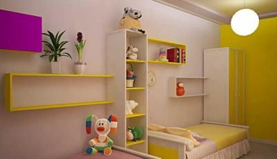 Обои в детскую комнату для разнополых детей желтые сиреневые
