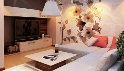 Современные обои с цветами в интерьере комнаты