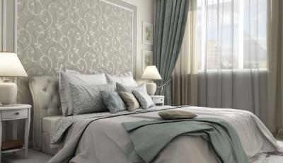Современные обои серые для спальни