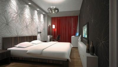 Современные обои в интерьере спальни черные и белые