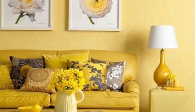 Современные желтые обои для комнаты