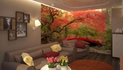 Угловые фотообои на две стены дерево с красными листьями