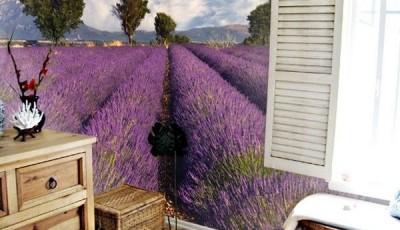 Угловые фотообои на две стены лавандовое поле в Провансе