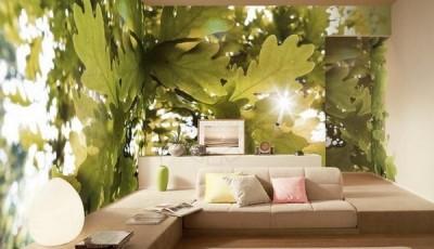 Угловые фотообои с дубовыми листьями