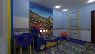 фотообои машинки на стену детской в интерьере