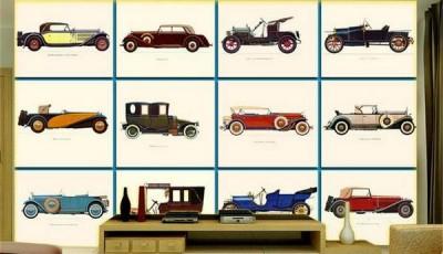 фотообои ретро машины на стену гостиной
