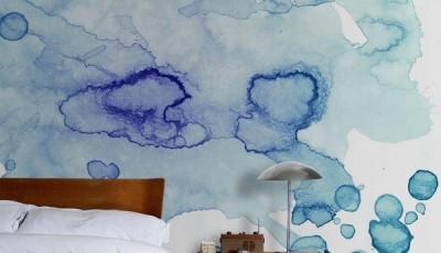 обои абстракция для стен акварельные