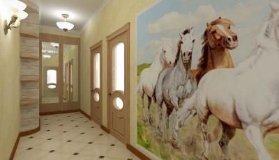 Фотообои для коридора с лошадьми