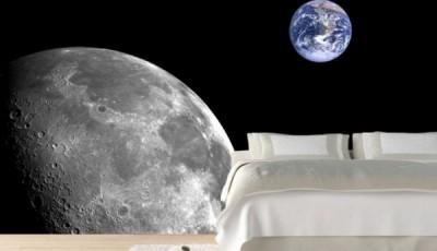 Фотообои космос на стене с луной