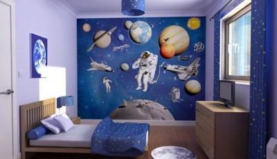 Фотообои космос познавательные в детской спальне