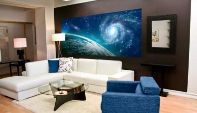 Фотообои космос в гостиной