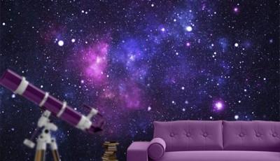 Фотообои космос за диваном