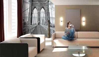 Фотообои Бруклинский мост на стенах комнаты