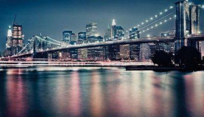 Фотообои Бруклинский мост с огнями