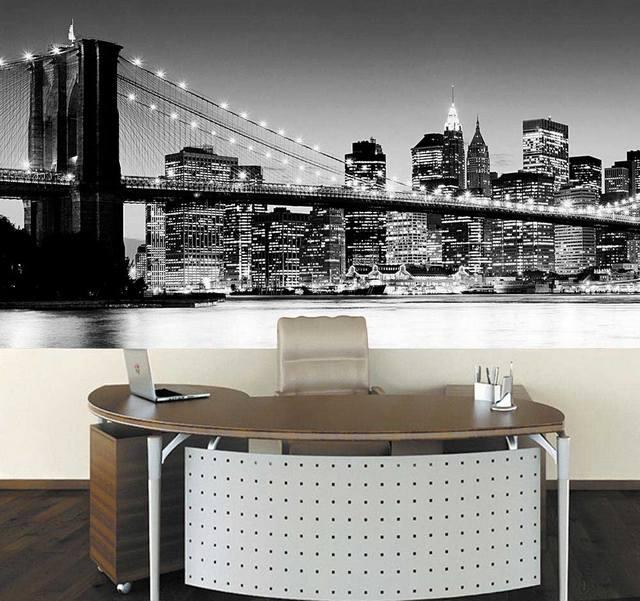 Фотообои Бруклинский мост в кабинете